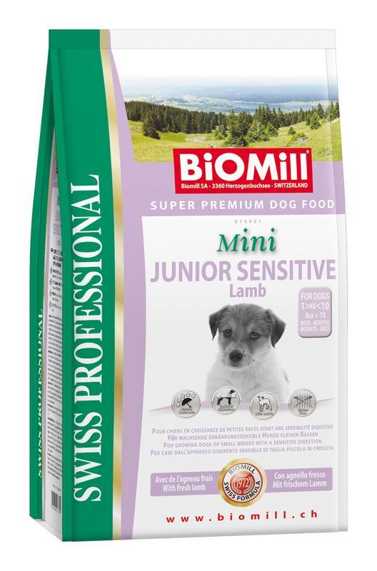 Сухой корм Biomill Swiss Professional Mini Junior Sensitive Lamb&Rice для привередливых и проблемных щенков мелких и карликовых пород