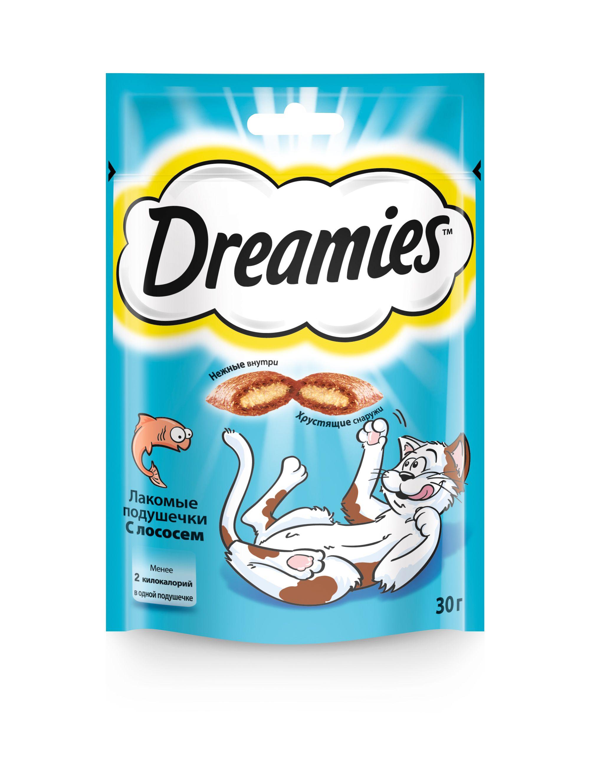 Лакомство Dreamies для кошек с лососем 30 г