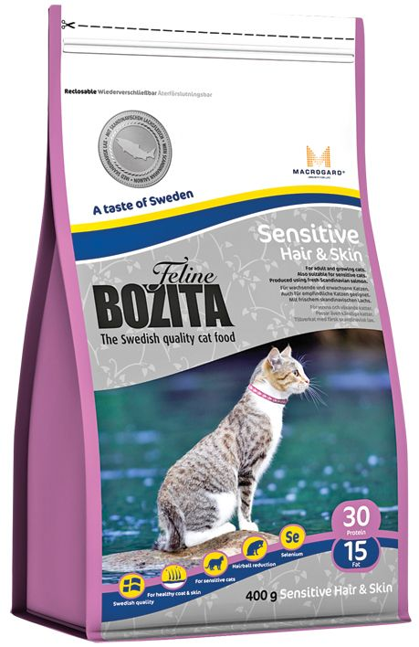 Сухой корм Bozita Feline Sensitive Hair&Skin для кошек с чувствительной кожей и шерстью