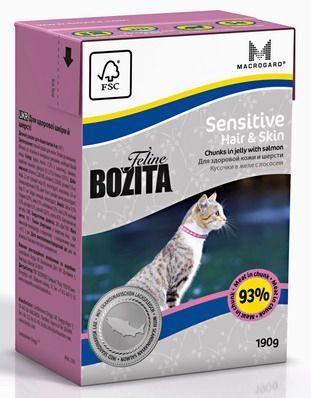 Консервы Bozita Sensitive Hair & Skin для кошек с чувствительной кожей и шерстью кусочки в желе с Лососем 190 г