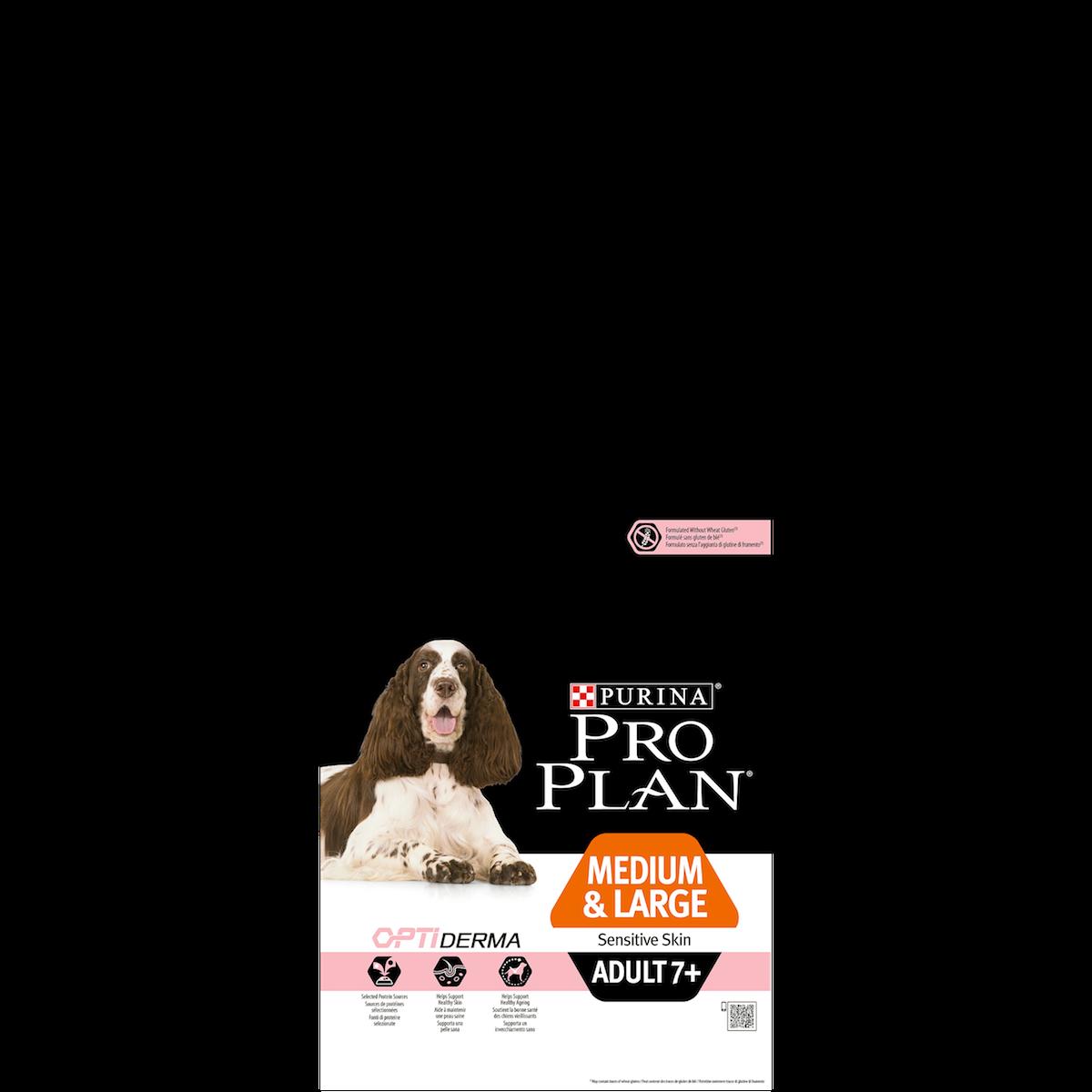 Сухой корм Pro Plan Medium&Large Adult 7+ Sensitive Skin для взрослых собак старше 7 лет средних и крупных пород с чувствительной кожей
