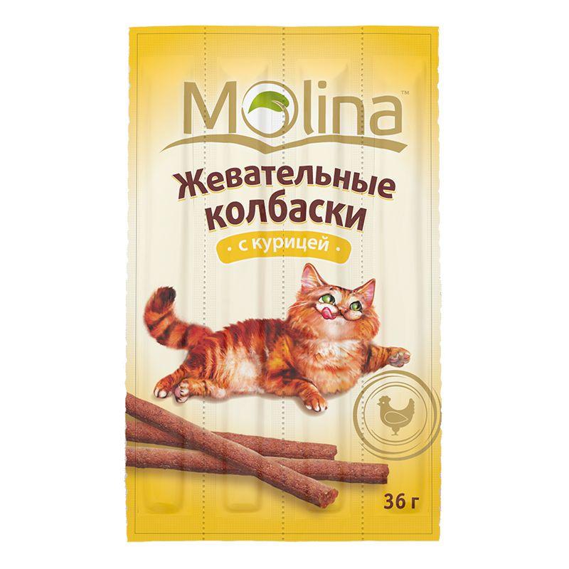 Лакомство Molina Жевательные колбаски для кошек, 36 г