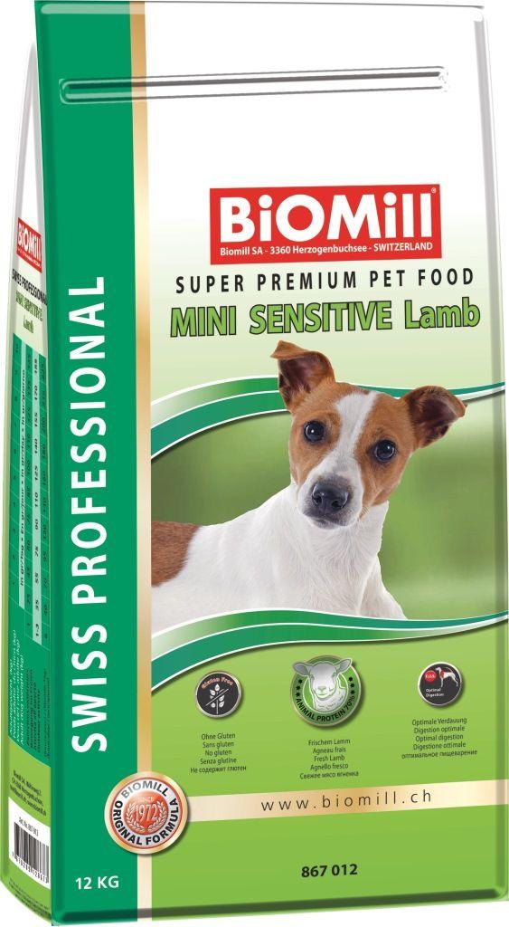 Сухой корм Biomill Swiss Professional Mini Sensitive Lamb&Rice для собак мелких и карликовых пород c чувствительным пищеварением