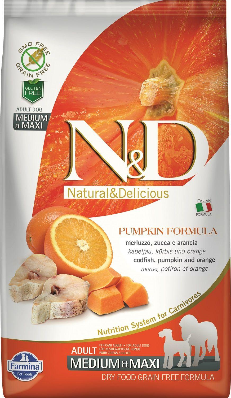 Сухой корм Farmina Natural&Delicious Grain Free Pumpkin Codfish&Orange Adult для взрослых собак средних и крупных пород