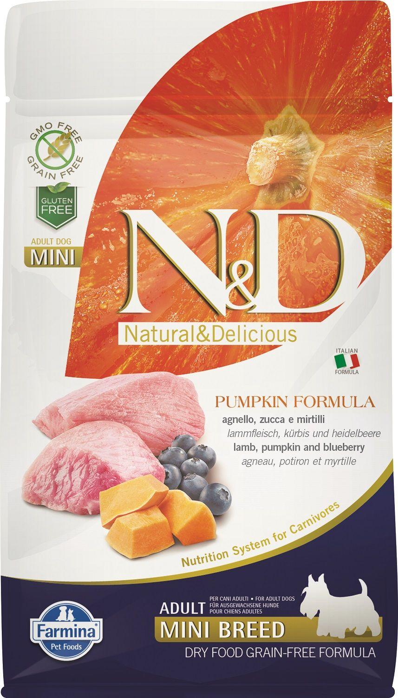 Сухой корм Farmina Natural&Delicious Grain Free Pumpkin Lamb&Blueberry Adult со вкусом ягненка, тыквы и яблока для взрослых собак мелких пород
