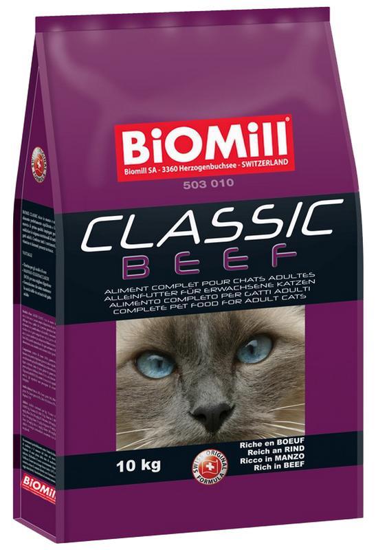 Сухой корм Biomill Cat Classic Beef с говядиной для кошек от 8 недель