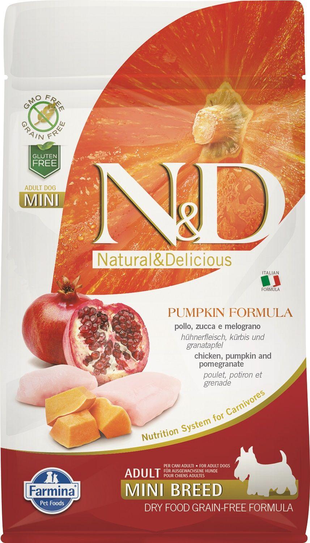 Сухой корм Farmina Natural&Delicious Grain Free Pumpkin Chicken&Pomegranate Adult Mini для взрослых собак мелких пород