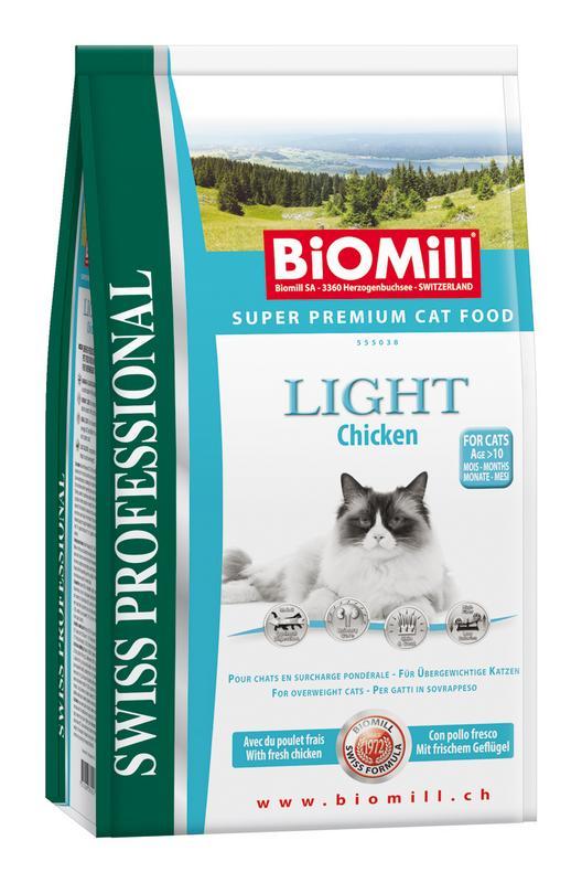 Сухой корм Biomill Swiss Professional Cat Light для взрослых кошек с избыточным весом и склонных к полноте