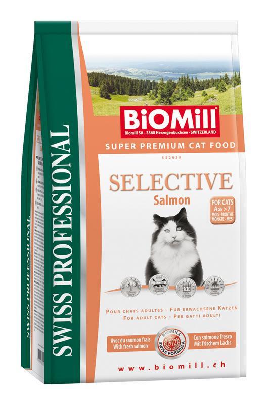 Сухой корм Biomill Swiss Professional Cat Selective Salmon с норвежским лососем для взрослых кошек