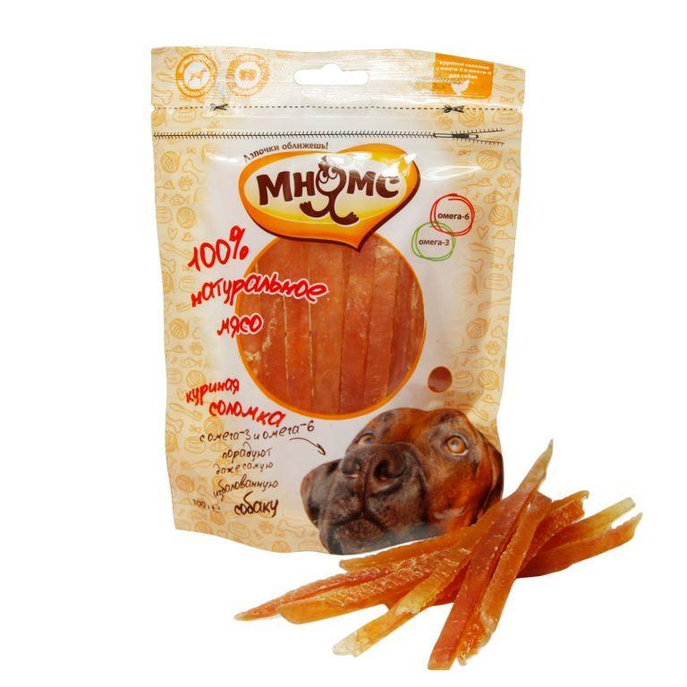Лакомство Мнямс куриная соломка с омега-3, омега-6 для собак 100 г