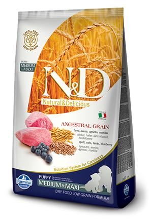 Сухой корм Farmina Natural&Delicious Low Grain Dog Puppy Medium&Maxi низкозерновой для щенков средних и крупных пород