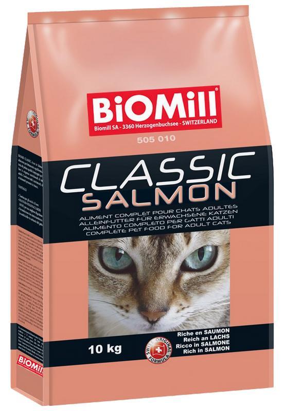 Сухой корм Biomill Cat Classic Salmon с норвежским лососем и дичью для привередливых кошек от 8 недель