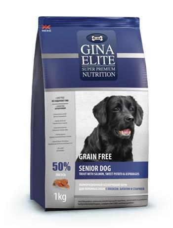GINA Elite Grain Free Senior Dog Trout,Salmon,Sweet Potato,Asparagus корм для пожилых собак