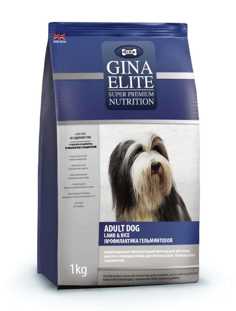GINA Elite Dog Dog Lamb & Rice with VERM-Xt корм для собак с аллергией на говяжий и куриный белок
