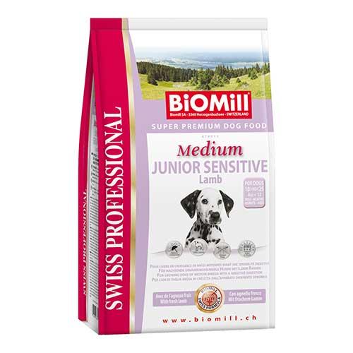 Сухой корм Biomill Swiss Professional Medium Junior Sensitive Lamb&Rice для привередливых и проблемных щенков средних и крупных пород