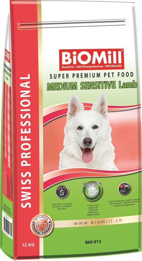 Сухой корм Biomill Swiss Professional Medium Sensitive Lamb&Rice для привередливых и проблемных собак