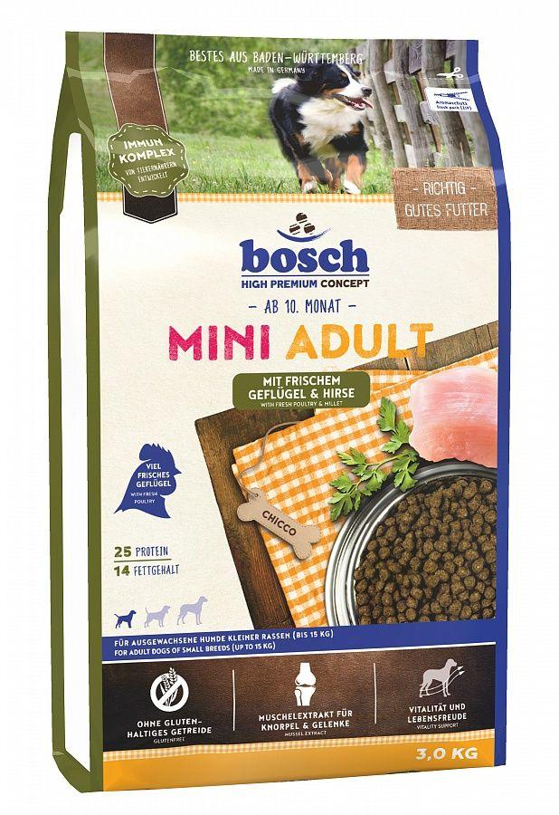 Сухой корм Bosch Mini Adult Poultry&Millet птица и просо для взрослых собак мелких пород