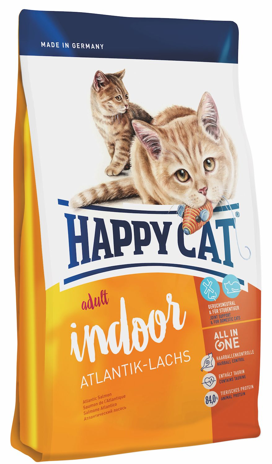 Сухой корм Happy Cat Adult Indoor Atlantik-Lachs с атлантическим лососем для кошек