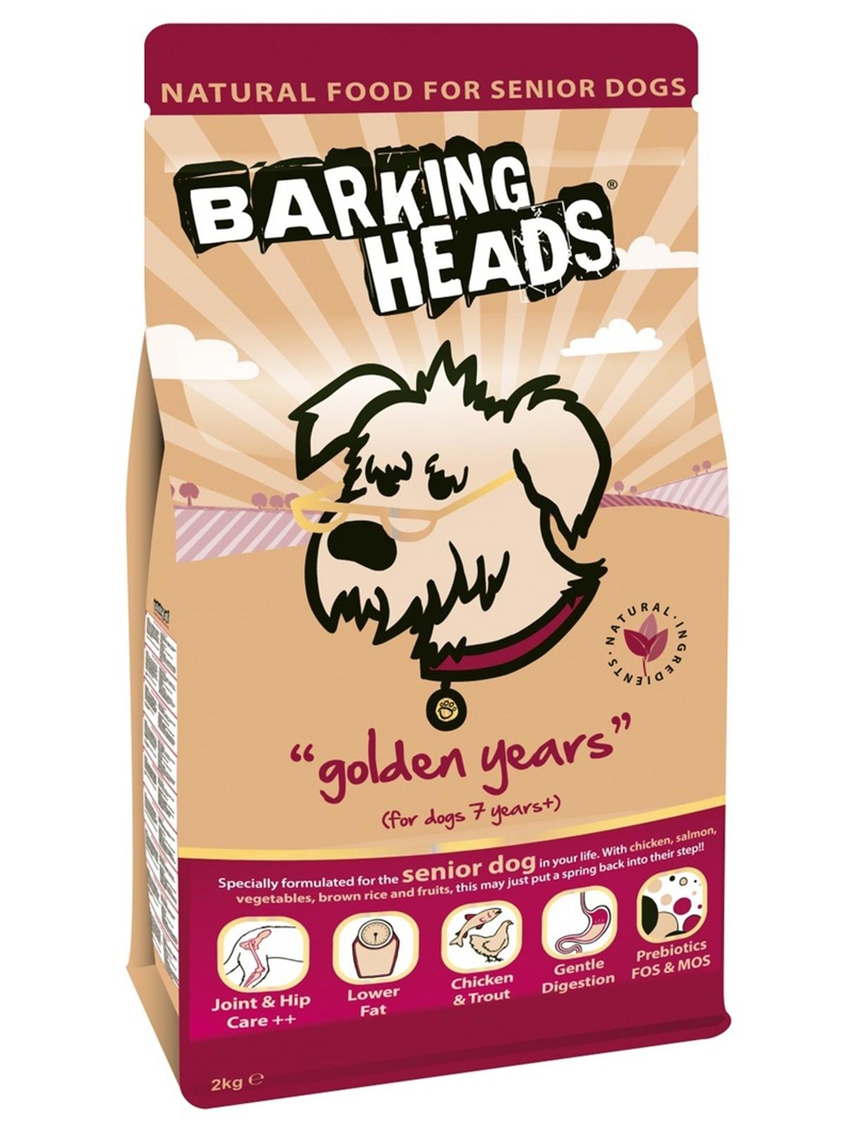"""BARKING HEADS корм для собак старше 7 лет с Курицей и Рисом """"Золотые годы"""""""