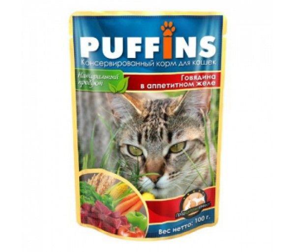 Паучи Puffins Кусочки в желе для кошек