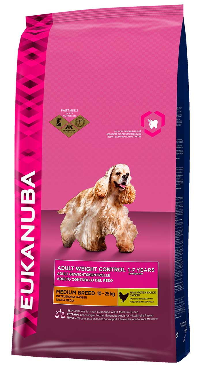 Сухой корм Eukanuba Adult Weight Control Medium Breed для собак средних пород, склонных к набору веса