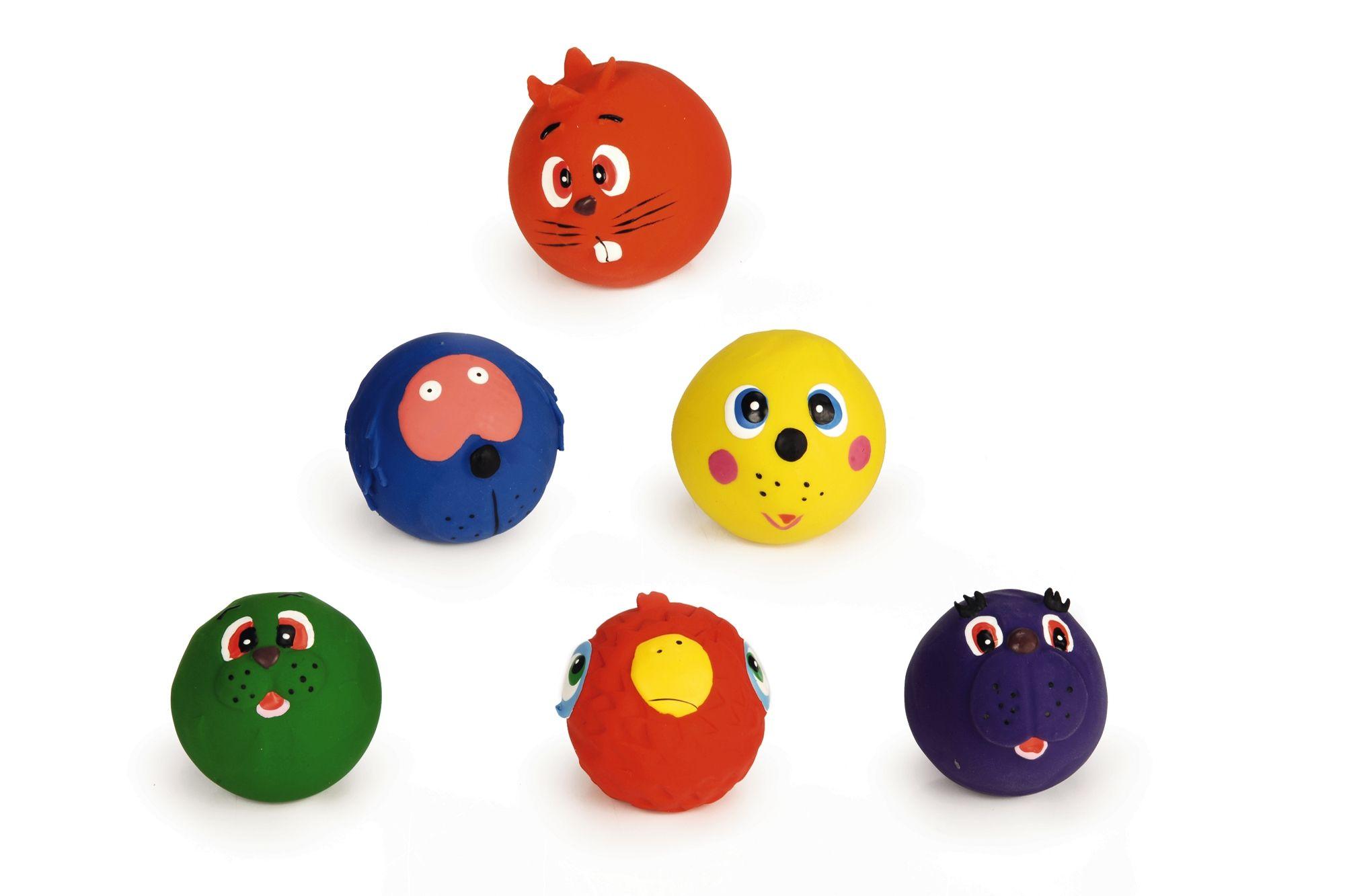 Игрушка I.P.T.S. Beeztees Мяч с мордочками животных для собак 7 см