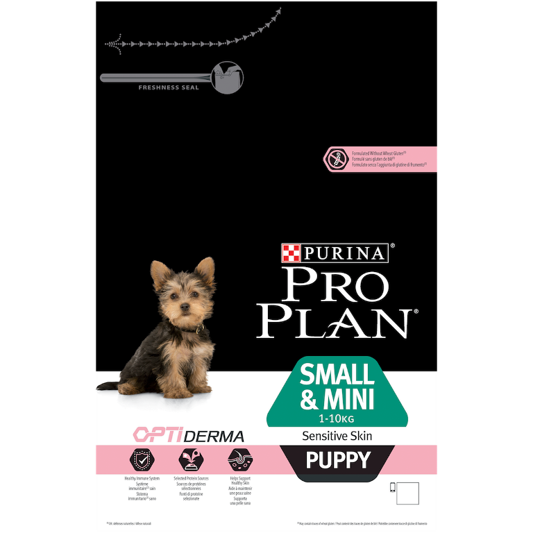 Сухой корм Pro Plan Small & Mini Puppy Sensitive Skin для щенков мелких и карликовых пород с чувствительной кожей с лососем и рисом