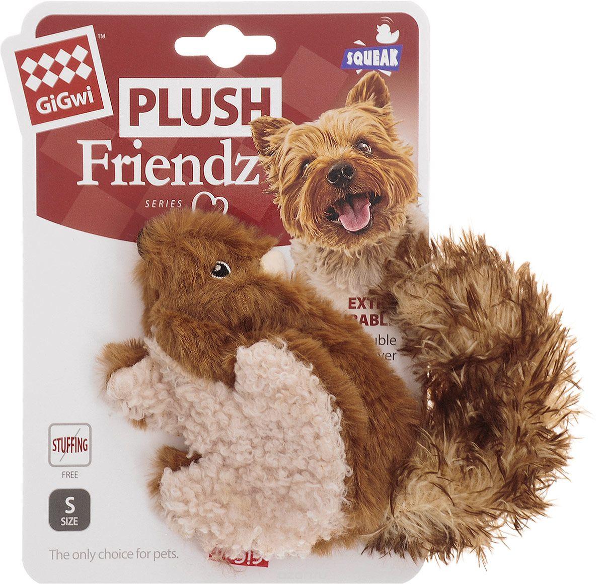 """Игрушка для собак GiGwi """"Белка"""", с пищалкой, длина 16 см"""