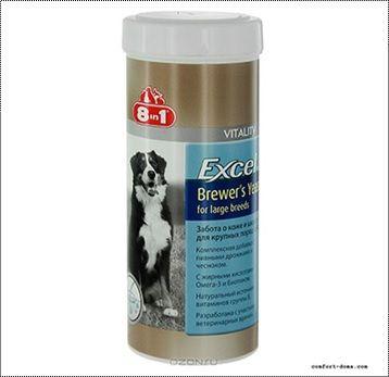 Пивные дрожжи 8in1 Excel Brewer's Yeast для собак крупных пород 80 таб