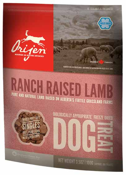 Сублимированное лакомство Orijen Ranch Raised Lamb с ягнёнком для собак всех пород
