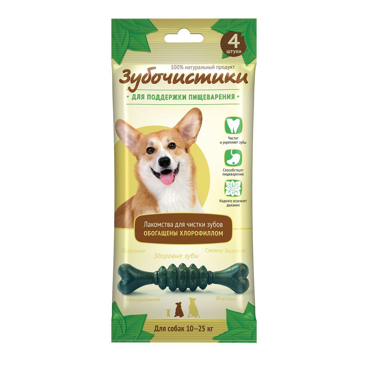 Лакомство Зубочистики Мятные с хлорофиллом для собак средних пород